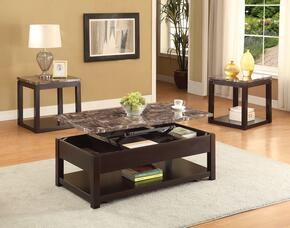 Dusty 82127CE 3 PC Living Room Table Set with Coffee Table + 2 End Tables in Espresso Finish