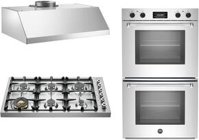 "3-Piece Stainless Steel Kitchen Package with DB36600X 36"" Gas Cooktop, MASFD30XT 30"" Electric Double Wall Oven, and KU36PRO1XV 36"" Wall Mount Convertible Hood"