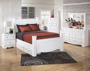 Weeki Collection Queen Bedroom Set with Poster Bed, Dresser, Mirror, 2x Nightstand and Chest in White