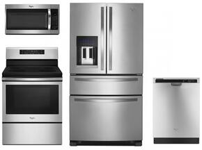 """4 Piece Kitchen package With WFE520S0FS 30"""" Electric Range, WMH32519FS Over The Range Microwave, WRX735SDBM 36"""" French Door Refrigerator and WDF520PADM 24"""" Built In Dishwasher In Stainless Steel"""