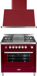2-Piece Burgundy Kitchen Package with UMT90FDVGGRB 36
