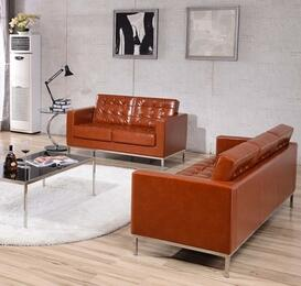 Hercules Lacey Collection ZB-LACEY-831-2-SL-COG-GG 2-Piece Living Room Sets with Stationary Sofa, and Loveseat in Cognac