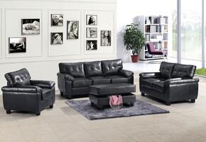 G903ASET 4 PC Living Room Set with Sofa + Loveseat + Armchair + Ottoman in Black Color