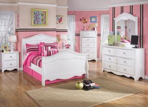 Exquisite Full Bedroom Set with Sleigh Bed, Dresser, Mirror, 2 Nightstands and Chest in White