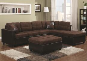 505655SO Mallory Reversible Sectional with Chaise + Ottoman, Accent Pillows, Ultra Plush Padded Textured Velvet and Pocket Coil Seating in Chocolate