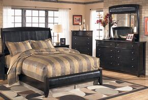 Flowers Collection Bedroom Set with Queen Size Sleigh Bed, Dresser, Mirror and Chest in Dark Brown