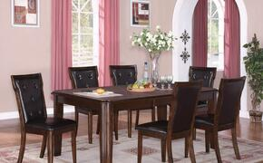 Pam PAMTAB6CHR Dining Set Including Dining Table and 6 Chairs with Carved Detailing, Button Tufted Upholstery and Tapered Legs