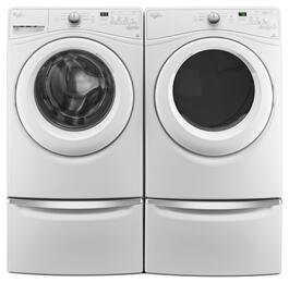 "White Front Load Laundry Pair with WFW7590FW 27"" Washer, WED7590FW 27"" Electric Dryer and 2 XHPC155XW Pedestals"