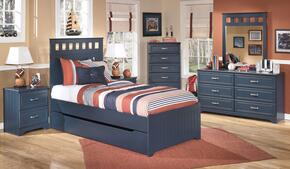 Leo Twin Bedroom Set with Panel Bed, Dresser, Nightstand and Mirror in Blue
