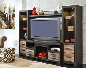 "Harlinton W3252PSBF01 Entertainment Center with 63"" Wide Large TV Stand, Two 72.17"" Tall Piere Cabinets, Bridge and W100-01 Fireplace Insert in Warm Grey Finish"