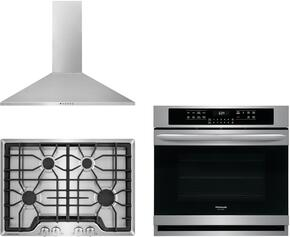 "Frigidaire Gallery 3-Piece Kitchen Package With FGGC3045QS 30"" Gas Cooktop, FGEW3065PF 30"" Electric Single Wall Oven and FHWC3055LS 30"" Wall Mount Convertible Hood in Stainless Steel"