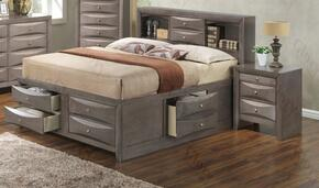 G1505GKSB3N 2 Piece Set including  King Size Bed and Nightstand in Gray