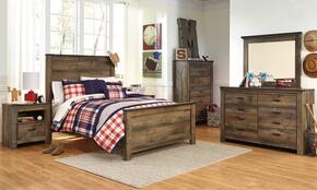 Trinell Full Bedroom Set with Panel Bed, Dresser, Mirror, 2 Nightstands and Chest in Brown