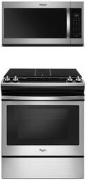 2 Piece Kitchen Package with WEG515S0FS 30 Inch Slide-in Gas Range  and WMH32519HZ 30 Inch Over the Range Microwave Oven in Stainless Steel