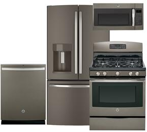 """4-Piece Slate Kitchen Package with GFE28HMHES 36"""" French Door Refrigerator, JGB650EEFES 30"""" Gas Range, GDT580SMFES 24"""" Fully Integrated Dishwasher and JVM6175EFES 30"""" Over-the-Range Microwave"""