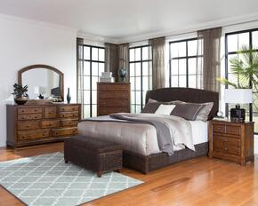 Laughton Collection 300500QSET 6 PC Bedroom Set with Queen Size Panel Bed + Dresser + Mirror + Chest + Nightstand + Trunk in Dark Brown Color