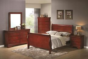 Louis Philippe 200431TDMN 4-Piece Bedroom Set with Twin Sleigh Bed, Dresser, Mirror and Nightstand in Cherry Finish