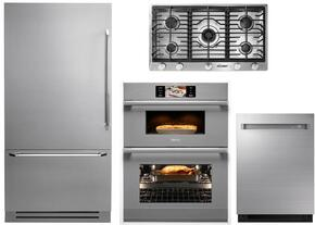 "4-Piece Stainless Steel Kitchen Package with DYF36BFTSL 36"" Bottom Freezer Refrigerator, RNCT365GSNGH 36"" Natural Gas Cooktop, DOC30M977DS 30"" Combi Wall Oven, and DDW24S 24"" Fully Integrated Dishwasher"