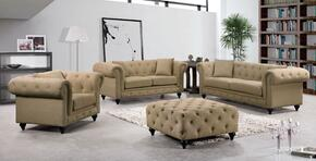 Chesterfield 662SAND-S-L-C-O 4 Piece Living Room Set with Sofa + Loveseat + Chair and Ottoman in Sand