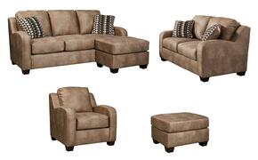 Trenton Collection MI-9280SLCO-DUNE 4-Piece Living Room Set with Sofa Chaise, Loveseat, Armchair and Ottoman in Dune
