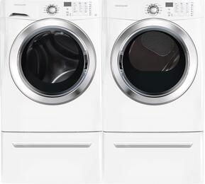 "White Front Load Laundry Pair with FFFS5115PW 27"" Washer, FFSE5115PW 27"" Electric Dryer and 2 CFPWD15W Pedestals"