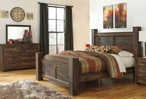 Quinden King Bedroom Set with Poster Bed, Dresser and Mirror in Dark Brown