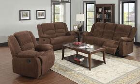 Bailey 51025SLR 3 PC Living Room Set with Sofa + Loveseat + Recliner in Dark Brown Color