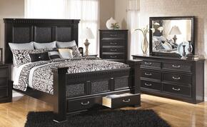 Cavallino King Bedroom Set with Poster Storage Bed, Dresser, Mirror and Chest in Black