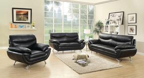G431SET 3 PC Living Room Set with Sofa + Loveseat + Armchair in Black Color