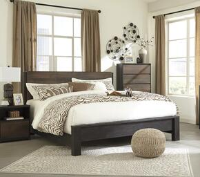 Windlore King Bedroom Set with Panel Bed and Single Nightstand in Dark Brown