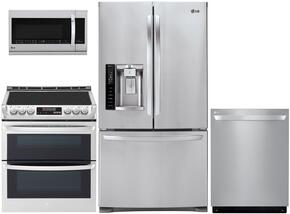 "4-Piece Stainless Steel Kitchen Package with LFX28968ST 36"" Freestanding French Door Refrigerator, LRE3083ST 30"" Freestanding Electric Range, LDF7774ST Fully-Integrated Dishwasher and LMV1683ST Over-the-Range Microwave"