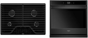 "2-Piece Kitchen Package with WCG51US0DB 36"" Gas Cooktop and WOS92EC7AB 27"" Electric Single Wall Oven in Black"