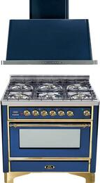 "2-Piece Midnight Blue Kitchen Package with UM906DMPBL 36"" Freestanding Dual Fuel Range (Brass Trim, 6 Burners, Timer) and UAM90BL 36"" Wall Mount Range Hood"