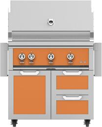 "36"" Freestanding Natural Gas Grill with GCR36OR Tower Grill Cart with Three Doors, in Citra Orange"