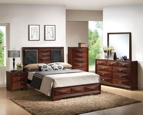 21920Q5PCSET Windsor Queen Size Bed + Dresser + Mirror + Chest + Nightstand in Merlot Finish