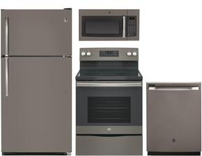 "4-Piece Kitchen Package with GTS21FMKES 32"" Top Freezer Refrigerator, JB645EKES 30"" Freestanding Electric Range, JVM3160EFES 30"" Over the Range Microwave Oven, and GDF610PMJES 24"" Full Console Dishwasher in Slate"
