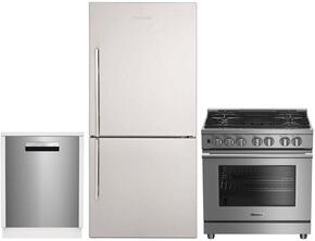 "3-Piece Kitchen Package with BRFB1812SSN 30"" Bottom Freezer Refrigerator, BDFP34550SS 30"" Freestanding Dual Fuel Range, and a free DWT58500SSWS 24"" Built In Fully Integrated Dishwasher in Stainless Steel"