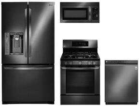 "4-Piece Kitchen Package with LFX25973D 36"" French Door Refrigerator, LRG3061BD 30"" Freestanding Gas Range,  LMV1831BD 30"" Over the Range Microwave Oven, and LDF5545BD 24"" Built In Full Console Dishwasher in Black Stainless Steel"