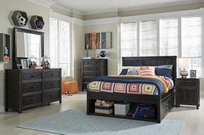 Jaysom Full Bedroom Set with Storage Bed, Dresser, Mirror, 2x Nightstand and Chest in Black