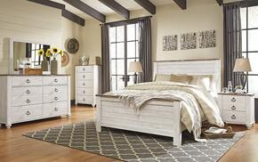 Willowton Queen Bedroom Set with Panel Bed, Dresser, Mirror, Single Nightstand and Chest in Whitewashed Color