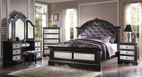 20917EK5PC Athena Silver 5 PC Bedroom Set with Eastern King Size Bed + Nightstand + Chest + Vanity + Stool in Espresso Finish