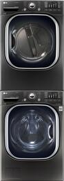"""Black Stainless Steel Washer and Dryer Package with WM4370HKA 27"""" Washer, DLEX4370K 27"""" Electric Dryer, and KSTK1 Stacking Kit"""