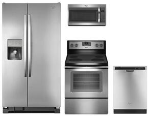 "4-Piece Kitchen Package with WRS325FDAM 36"" Side by Side Refrigerator, WFE515S0ES 30"" Electric Freestanding Range , WMH31017FS 30"" Over The Range Microwave oven and WDF520PADM 24"" Built in Dishwasher in Stainless Steel"