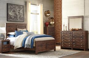Hammerstead Queen Bedroom Set with Panel Bed, Dresser, Mirror, Nightstand and Chest in Brown