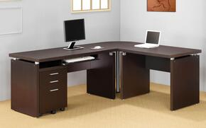 Skylar 800891SETA 4 PC Desk Set with Computer Desk + Extension Desk + Corner Table + Mobile File Cabinet in Cappuccino Finish