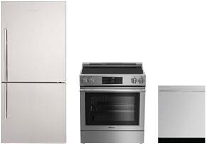 "3-Piece Kitchen Package with BRFB1812SSN 30"" Bottom Freezer Refrigerator, BERU30420SS 30"" Freestanding Electric Range, and a free DW55502SS 24"" Built In Fully Integrated Dishwasher in Stainless Steel"
