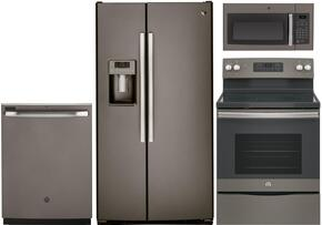 "4 Piece Kitchen package With JB645EKES 30"" Electric Range, JVM3160EFES Over The Range Microwave Oven, GSS25GMHES 36"" Side By Side Refrigerator and GDF610PMJES 24"" Built In Dishwasher In Slate"