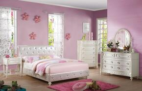 Dorothy 30335FSET 5 PC Bedroom Set with Full Size Bed + Dresser + Mirror + Chest + Nightstand in Ivory Color