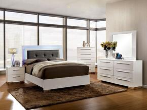 Clementine Collection CM7201QBDMCN 5-Piece Bedroom Set with Queen Bed, Dresser, Mirror, Chest and Nightstand in White Finish