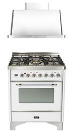 "2-Piece True White Kitchen Package with UM76DMPBX 30"" Freestanding Dual Fuel Range (Chrome Trim, 5 Burners, Timer) and UAM76B 30"" Wall Mount Range Hood"